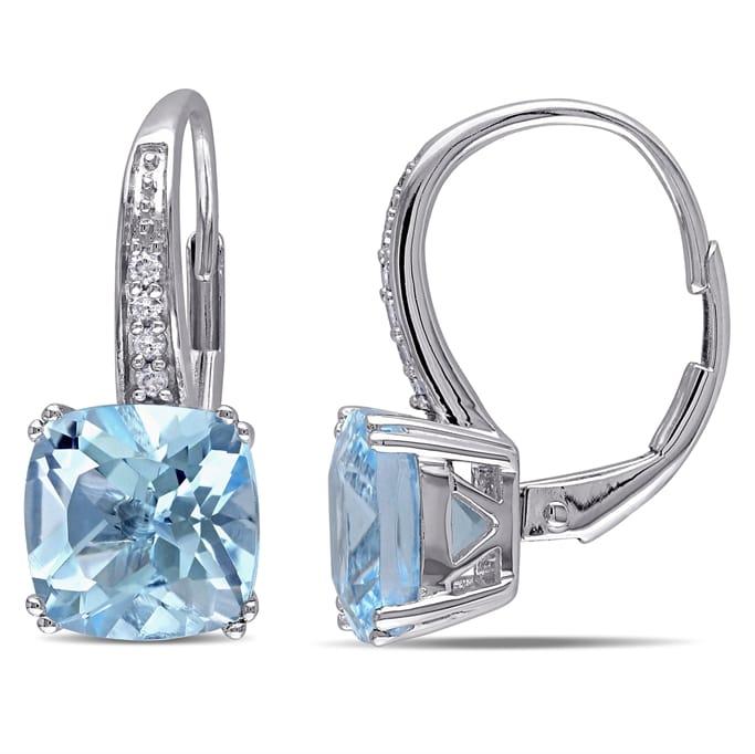 43c2558b9debf Gemstone Jewelry - 0.06 CT Diamond And 5 CT Blue Topaz Sky 10k White ...