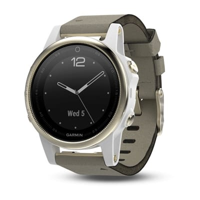 Picture of fēnix® 5S Sapphire  Multisport GPS Watch - Champagne/Gray Suede Band