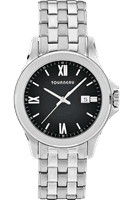 Picture of Steel Roman Black Dial Watch - Black - Silver