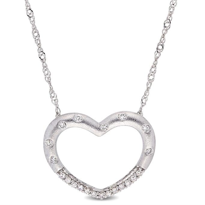 95345e199 Diamond Jewelry - 1/10 CT TW Diamond Stationed Open Heart Necklace ...