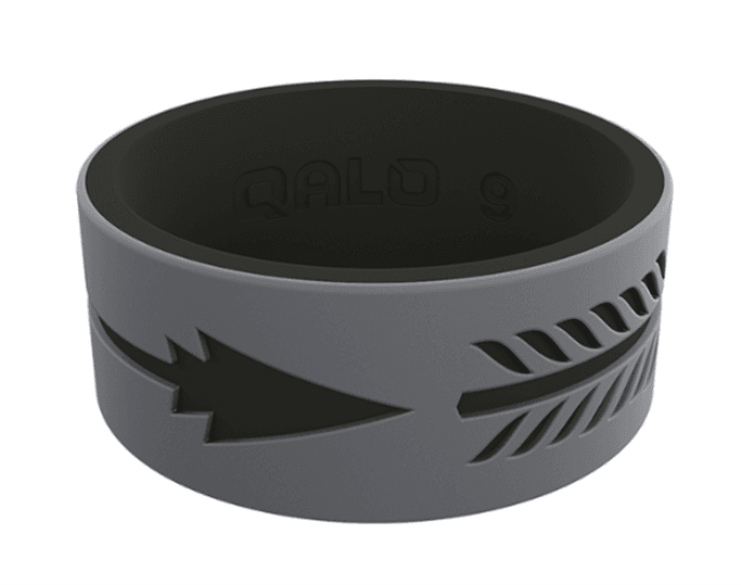 QALO Rings - Men's Strata Grey and Black Arrow Silicone Ring